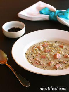 Creamy Leek & Salmon Soup - dairy free / Paleo | meatified