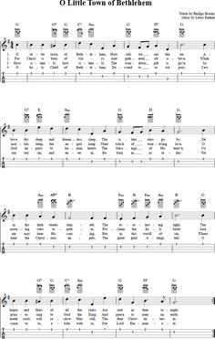 O Little Town of Bethlehem : Ukulele Chords, Sheet Music, Tab, Lyrics Ukulele Tabs Songs, Ukulele Fingerpicking Songs, Learn Guitar Chords, Music Tabs, Ukulele Chords, Uke Tabs, Music Lessons, Guitar Lessons, Guitar Tips