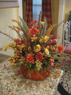 Pumpkin Basket Arrangement by kristenscreations on Etsy