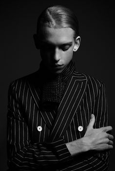 Men black and white fashion portrait  by Henri De Carvalho