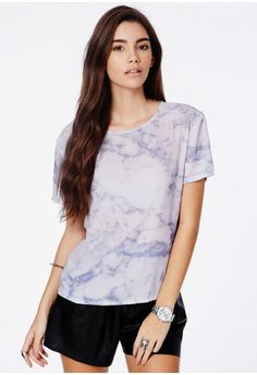 Ashtyn Boxy Top In Marble Print - Tops - Box Tops - Missguided £14.99
