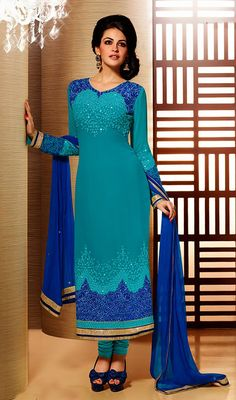 Cyan Blue Faux Georgette Long Churidar Suit Price: Usa Dollar $131, British UK Pound £77, Euro97, Canada CA$142 , Indian Rs7074.