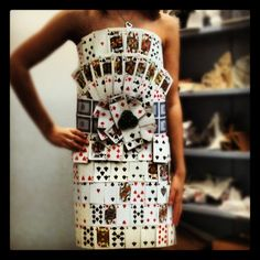 Playing card dress; art project of untraditional clothing