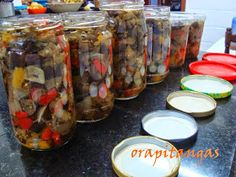 ora, pitangas!!!: caponata de berinjela do nick Hummus, Buffet, Sausage, Mason Jars, Appetizers, Low Carb, Vegan, Adora, Cooking
