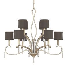 Capital Lighting; Elan Collection; Brushed Silver; Chandelier, Black Shades, Crystal, Drum Shade, Winter Gold, Traditional