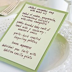 Add Color with Menu Cards   For a menu card that is easy and inexpensive, adhere two different sizes of card stock together using double-sided tape