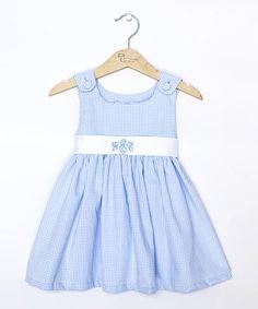 Another great find on #zulily! Blue Gingham Monogram Sash Jumper - Infant, Toddler & Girls by Princess Linens #zulilyfinds