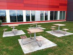 Maglin's wheelchair accessible picnic table is installed here at McGill University Health Centre, Hospital, Montreal, QC. Ipe Wood, Steel Panels, Street Furniture, Picnic Table, Montreal Qc, Benches, Building, Centre, Tables