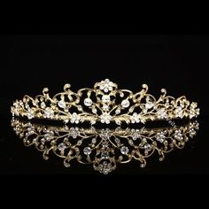 Gold Floral Bridal Crystal Rhinestone Prom Wedding Crown Tiara V710 #Tiara