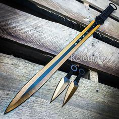 """27"""" GOLD NINJA SWORD Full Tang Machete Tactical Blade Katana Throwing Knife Set"""
