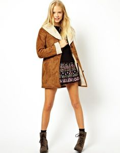 Suedette Tan Vintage Coat With Borg Lining