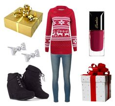 """""""Christmas is comming"""" by pavlusa025 ❤ liked on Polyvore featuring Frame Denim, Guerlain and Kobelli"""