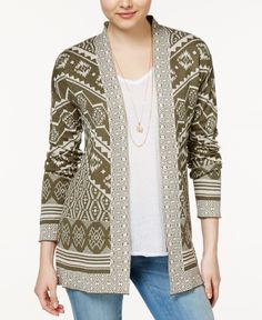 Hippie Rose Juniors' Printed Open-Front Cardigan