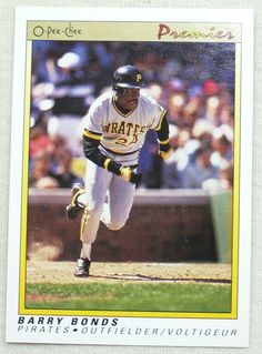 1991 O-Pee-Chee Premier Baseball 12 Barry Bonds Pittsburgh Pirates #PittsburghPirates The Outfield, Pittsburgh Pirates, Bond, Baseball Cards, Store, Ebay, Storage, Shop