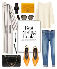 Stripes + Pop of Color by glamorous09 on Polyvore featuring polyvore, moda, style, H&M, Monki, Frame, Chanel, Gucci, CLUSE, Jaeger, STELLA McCARTNEY, Bomedo, fashion and clothing