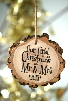 Newlyweds 2014 First Christmas Holiday Ornament - Wedding Gift - Laser Engraved