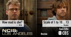 Eric Beale: How mad is she? Marty Deeks: Scale of 1 to 10...13. NCIS: Los Angeles quotes