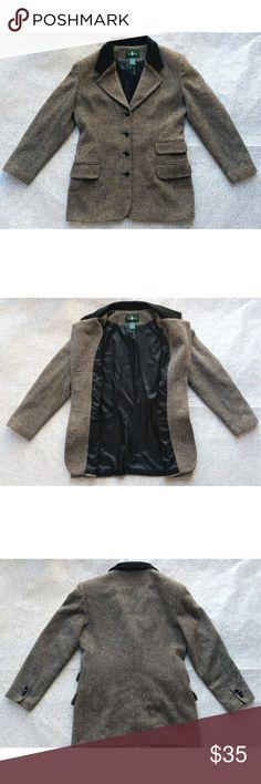 best loved 6326b e1768 Vintage Hunt Club Wool Blazer sz 8 Hunt Club Vintage blazer Brown  tan  herringbone pattern