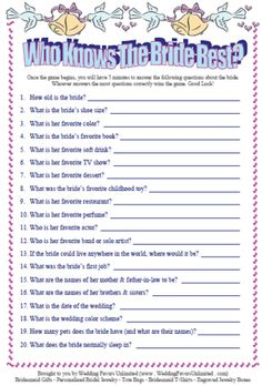 "bridal shower games. ""How to plan a bridal shower"""