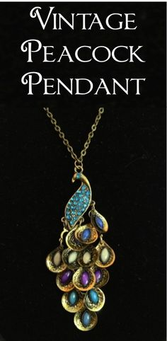 Vintage Peacock Pendant: $1.59 + FREE Shipping!!  #jewelry