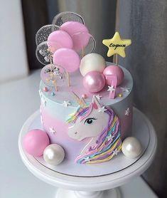 Birthday Cake For Him, First Birthday Cupcakes, Birthday Wishes Cake, Cute Birthday Cakes, Beautiful Birthday Cakes, Creative Cake Decorating, Cake Decorating Videos, Unicorn Cake Design, Big Wedding Cakes