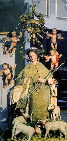Madonna Pastorella    An Italian statue of Mary as the Divine Shepherdess surrounded by lambs, which symbolise the faithful.    History of the devotion  Italy, Divine Shepherdess