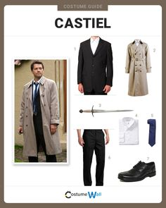Dress like the Angel of the Lord, Castiel, portrayed by Misha Collins on the CW's hit TV show, Supernatural. Supernatural Halloween Costumes, Supernatural Costume, Halloween Costume Puns, Halloween Dress, Halloween Outfits, Supernatural Cast, Got Costumes, Cosplay Costumes, Costume Ideas