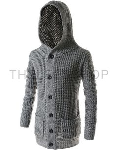 (TNC07-GRAY) Casual Slim Fit Hooded 2 Pocket 6 Button Knitted Long Sleeve Cardigan