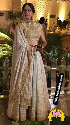 The Ultimate Sonam Kapoor Big Fat Wedding Guide! Sonam Kapoor's Mehendi Function Outfit- Pastel coloured Multi-Panelled Lehenga by Abu Jani Sandeep Khosla Sangeet Outfit, Mehendi Outfits, Indian Bridal Outfits, Indian Bridal Lehenga, Indian Bridal Wear, Indian Designer Outfits, Indian Dresses, Indian Sarees, Indian Wedding Jewellery