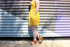 The Dress that Made Me Start Loving Abercrombie and Fitch | Something Good, @danaerinw , wedges, shoes, sandals, strappy wedges, cognac, brown wedges, yellow dress, summer style, summer fashion.