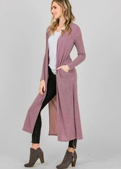 A long knit duster cardigan featuring side silts, pockets, and soft material for a flowy, comfortable fit Polyester Spandex Model is wearing size small Grey Outfit, Pink Cardigan, Clothing Co, My Way, Mauve, Duster Coat, Hardware, Knitting, Model