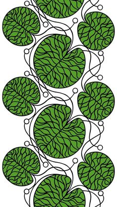 Marimekko 'Bottna' fabric wall art in green, black and white