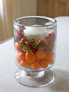 No-Mess candle for the dining room table: See how to make this simple #DIY centerpiece from HGTV.com