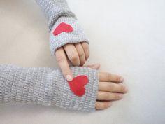 Heart Gloves, Valentin, Gloves, Mittens, Fingerless with red felt heart, Women accessories. Grey Gloves , Winter accessories, arm warmers. by zeynep.bloomed