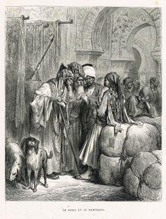 Le Bassa et le marchand - fable de Jean de La Fontaine illustrée par Gustave Doré - MAS Estampes Anciennes - MAS Antique Prints