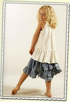 Paper Wings Chambray Bustle Skirt Size 6 - The Crooked Little Path