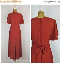 SALE Vintage 1930s Dress / 30s Burnt Sienna Bias by PrizesforArla