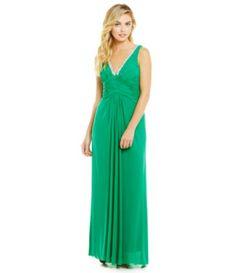 Marina Embellished V-Neck Mesh Gown #Dillards