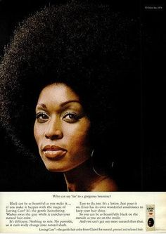Barbara Cheeseborough, the model who graced the very first issue of Essence, in a 1970s Clairol advertisement. Found on Vintage Black Glamour via Facebook
