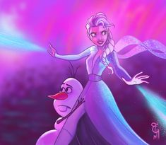 I can't wait for Frozen 2 the hype is real. Here's the scene where Elsa is using her powers to stop that purple flame that surrounds Olaf and her. Let it Go 2 Frozen Fan Art, Frozen And Tangled, Disney Frozen 2, Frozen Stuff, Elsa Frozen, Disney And Dreamworks, Disney Pixar, Disney Characters, Disney Princesses