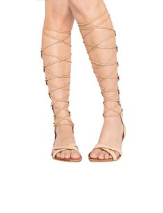 Knee High Gladiator Sandals - Strappy Sandals - Lace Up Shoes