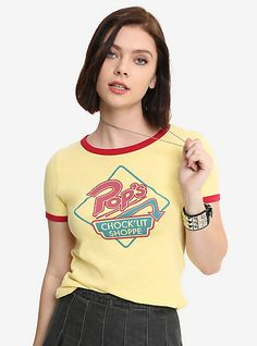 Riverdale Pop's Chock'lit Shoppe Girls Cosplay Ringer T-Shirt Hot Topic Exclusive, YELLOW, hi-res Hot Topic Shirts, Hot Topic Clothes, Hot Topic Outfits, Grunge Style, Soft Grunge, Riverdale Shirts, Riverdale Fashion, Jugend Mode Outfits, Teen Fashion Outfits