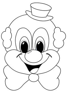 Clown Coloring Sheet For Preschool - Clown Crafts, Carnival Crafts, Kids Carnival, Colouring Pages, Coloring Sheets, Coloring Books, Circus Birthday, Circus Theme, Cartoon Drawings