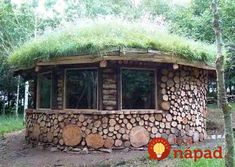 Cob/Wood House in Wales Built by Tony Wrench and Crew Shelters In The Woods, Recycled House, River Stones, Unusual Homes, Survival Shelter, Construction, Round House, Wood Creations, House In The Woods