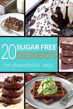 These 20 low carb, sugar free dessert recipes is exactly what you need when your will is wavering. Check out gooey brownies, crispy waffles and decadent cakes you can eat whenever the feeling strikes! Diabetic Desserts, Low Carb Desserts, Diabetic Recipes, Healthy Desserts, Low Carb Recipes, Dessert Recipes, Diabetic Foods, Healthy Breakfasts, Desserts For Diabetics