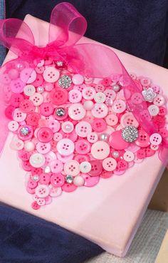 Pink Canvas Button Heart | DIY Canvas Art | Valentine's Day Gift Ideas