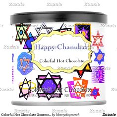Shop Colorful Hot Chocolate Gourmet Tins - Chanukah Powdered Drink Mix created by libertydogmerch. Design Your Kitchen, Hanukkah Gifts, Mixed Drinks, Tins, Coffee Cans, Hot Chocolate, Create Your Own, Personalized Gifts, Food And Drink