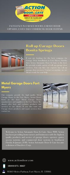 In today's time, a garage is a significant need for people. But we have to maintance it, especially it's door. If you also have a garage and are looking for the roll-up garage doors service in Bonita Springs then you have come to the right place. If you want to install, repair or replace your roll-up garage door. You can contact us anytime. Our expert team is always ready for your help. Roll Up Garage Door, Garage Doors For Sale, Metal Garage Doors, Garage Door Opener, Action Door, Garage Door Installation, Door Gate, Fort Myers, Good Company