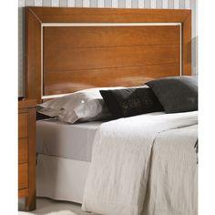Cabecero de cama modelo recto con panel central con 2 rayas horizontales. Cabecero de madera de haya maciza. Más info en www.tudecora.com