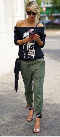 Army green pants street lifestyle – summer fashion ideas - New Site Look Fashion, Trendy Fashion, Autumn Fashion, Womens Fashion, Fashion Spring, Ladies Fashion, Trendy Style, Green Fashion, Cheap Fashion